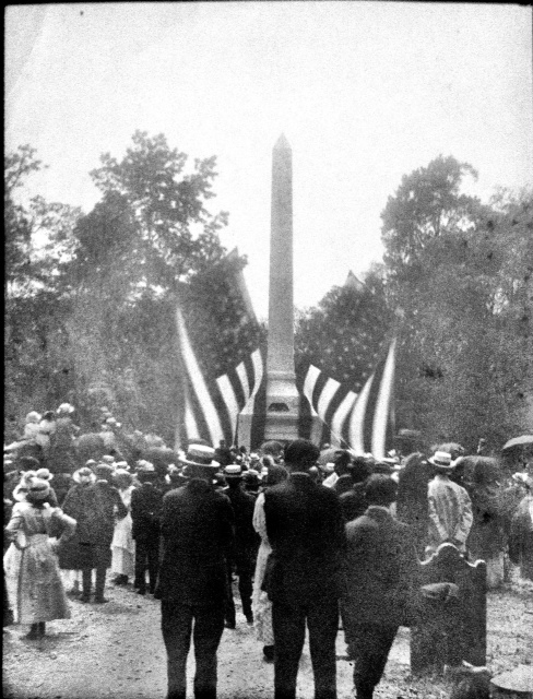 The unveiling of the Stewart-Screven Monument in 1915 — at Historic Midway Cemetery, Midway GA